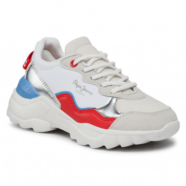 Sneakersy PEPE JEANS - Eccles Junior PGS30490  White 800