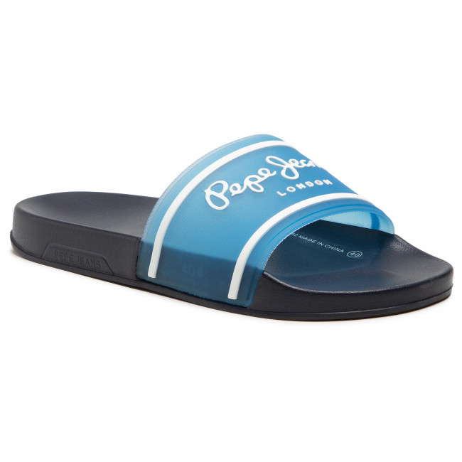 Klapki PEPE JEANS - Slider Translucent PMS70092 Regular Blue 552