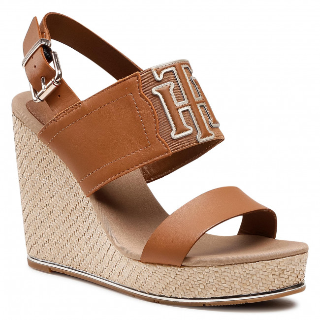 Espadryle TOMMY HILFIGER - Th Elastic High Wedge Sandal FW0FW05599 Summer Cognac GU9
