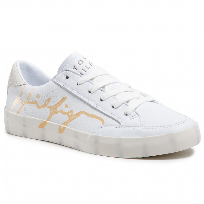 Sneakersy TOMMY HILFIGER - Th Signature Leather Sneaker FW0FW05701 White YBR