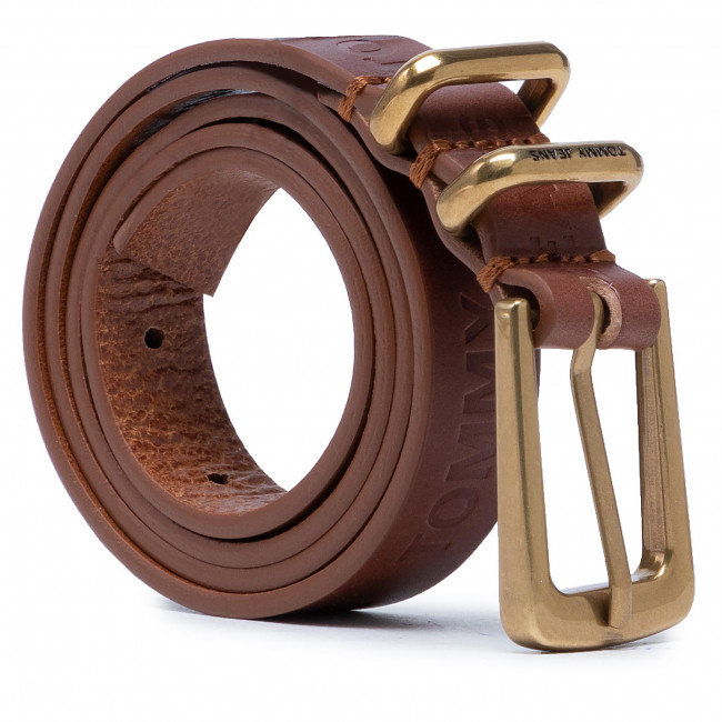 Pasek Damski TOMMY JEANS - Tjw Essential Leather Belt AW0AW09884 GBB