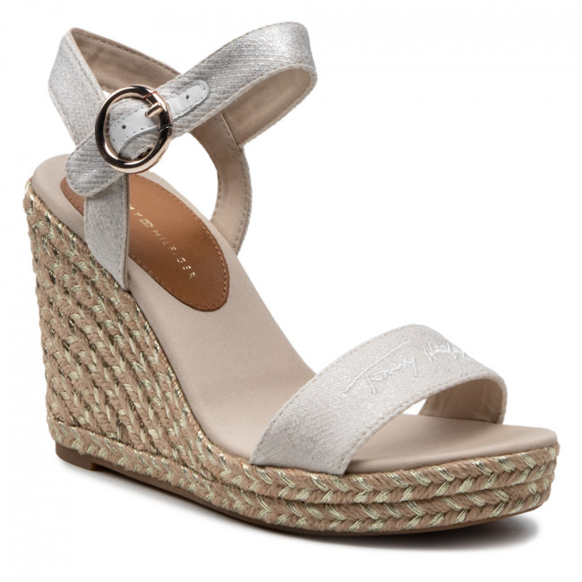 Espadryle TOMMY HILFIGER - Th Signature High Wedge Sandal FW0FW05613 Ecru YBL
