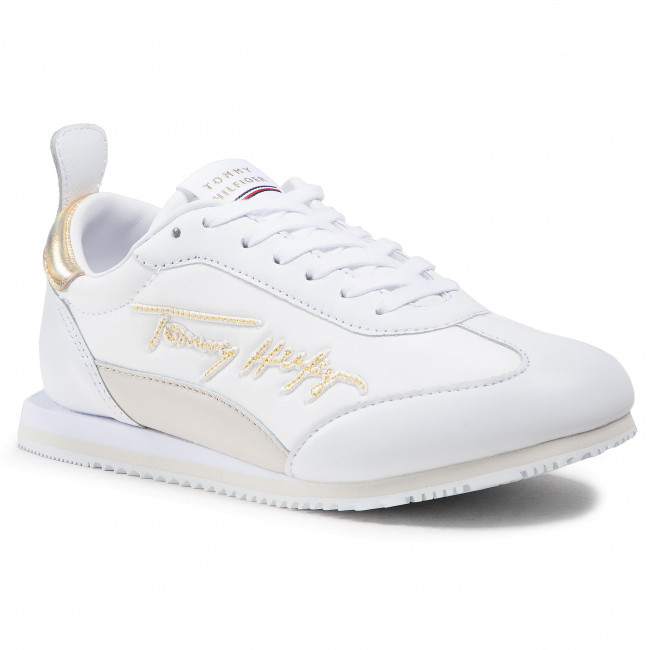 Sneakersy TOMMY HILFIGER - Gold Signature Retro Runner FW0FW05692 White YBR