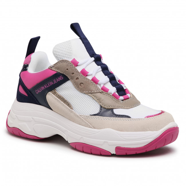 Sneakersy CALVIN KLEIN JEANS - Maya R0802 White/Medieval Blue/Hot Pink/Taupe