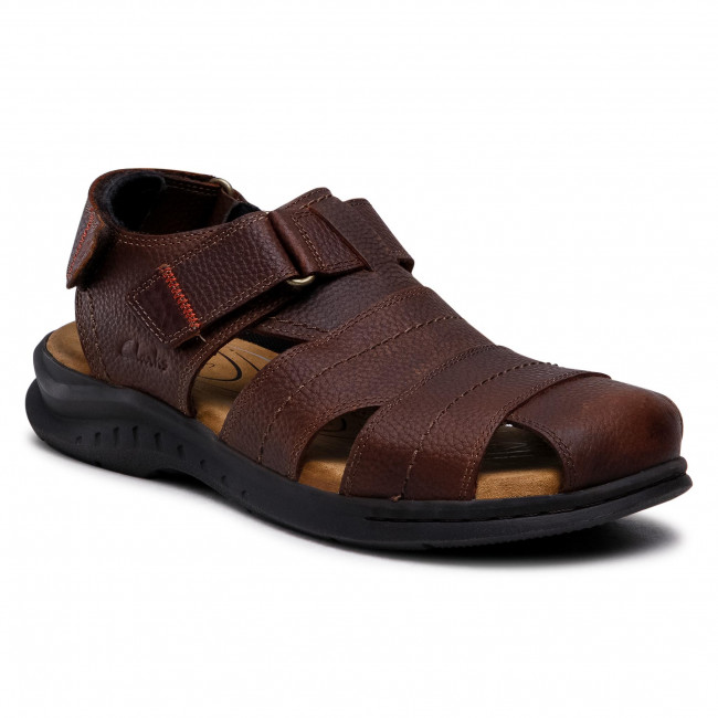 Sandały CLARKS - Hapsford Cove 261580137 Brown Tumb