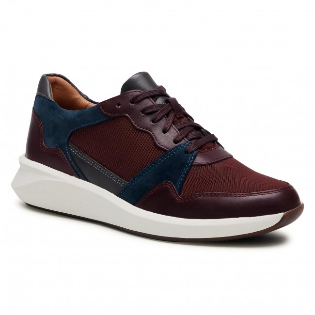 Sneakersy CLARKS - Un Rio Run 261554134  Burgundy Combi