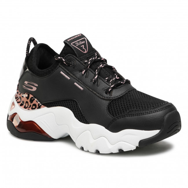 Sneakersy SKECHERS - D'lites Queen Leopard 149087/BKRG Black/Rose/Gold