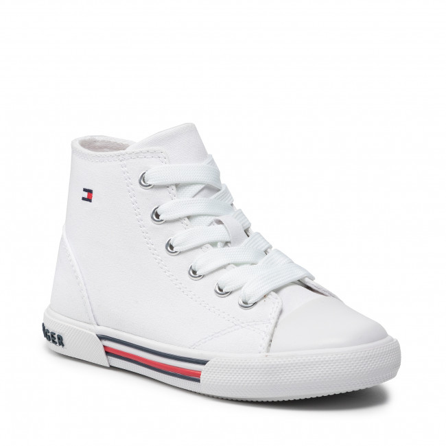 Trampki TOMMY HILFIGER - Hight Top Lace-Up Lace Sneaker T3X4-32060-0890 M White 100