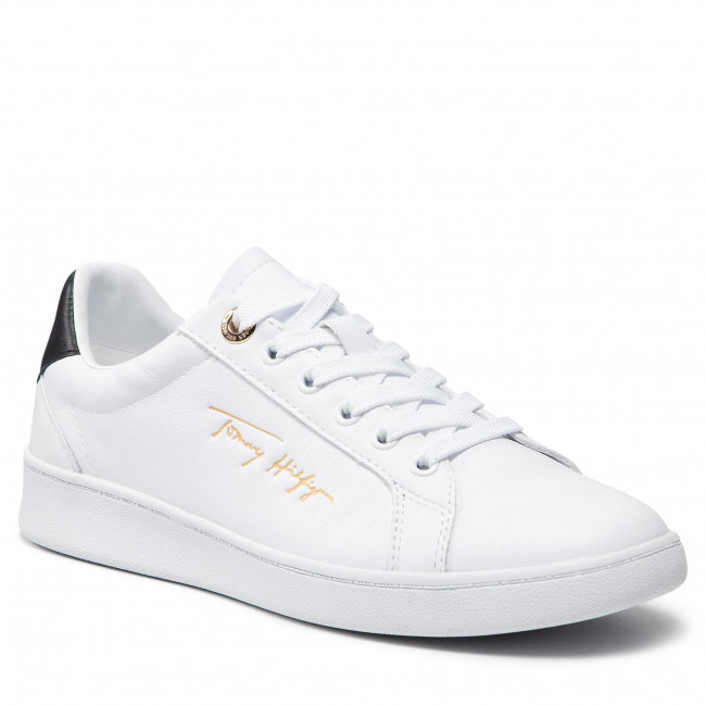 Sneakersy TOMMY HILFIGER - Signature Court Sneaker FW0FW05911 White/Black 0LC