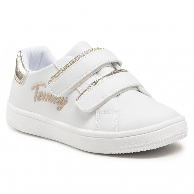 Sneakersy TOMMY HILFIGER - Low Cut Velcro Sneaker T1A4-31017-1189 S White/Platinum X048