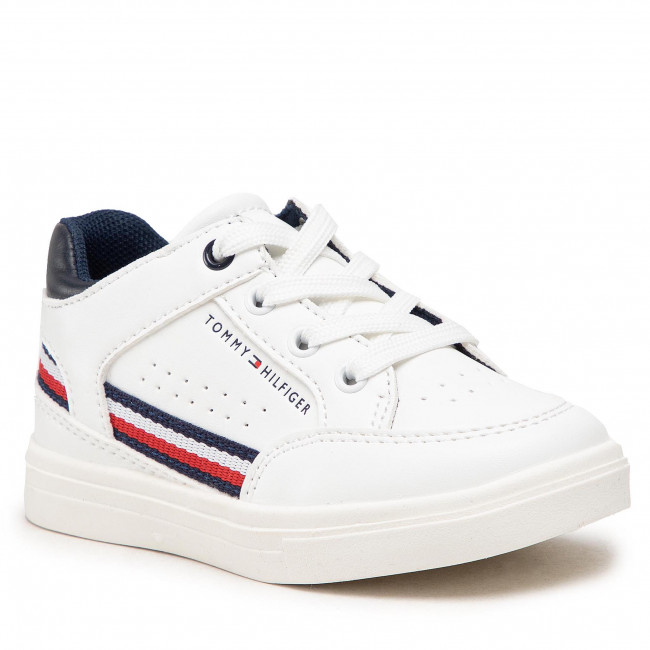 Sneakersy TOMMY HILFIGER - Mid Cut Lace-Up Sneaker T1B4-32043-0621 M White/Blue X336