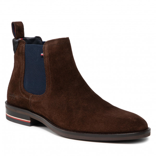 Sztyblety TOMMY HILFIGER - Signature Hilfiger Suede Chelsea FM0FM03795 Cocoa GT6