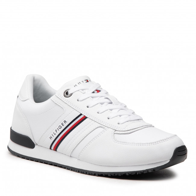 Sneakersy TOMMY HILFIGER - Iconic Leather Runner Stripes FM0FM03923 White YBR