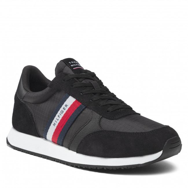Sneakersy TOMMY HILFIGER - Runner Lo Mix Ripstop FM0FM03737 Black BDS