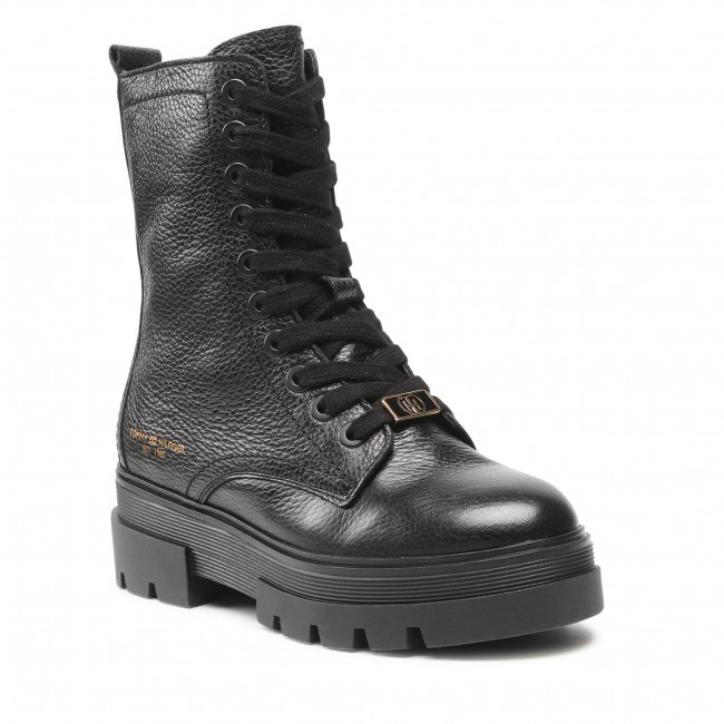 Trapery TOMMY HILFIGER - Monochromatic Lace Up Boot FW0FW05946 Black BDS