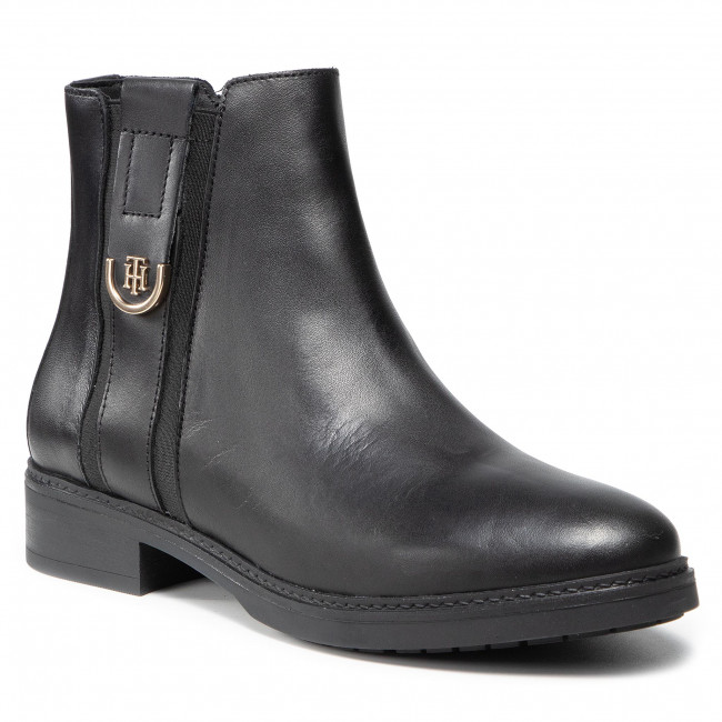 Botki TOMMY HILFIGER - Th Hardware Leather Flat Boot FW0FW05996  Black BDS