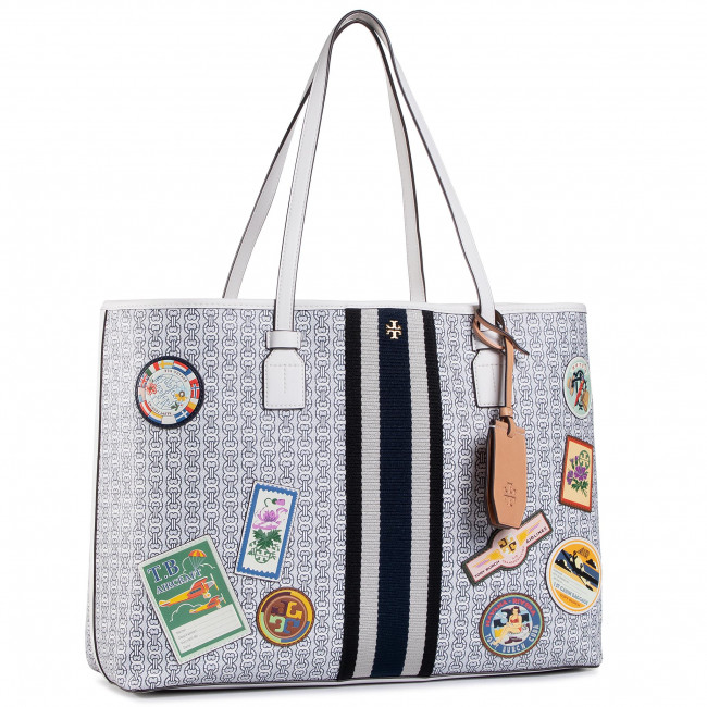 Torebka TORY BURCH - Gemini Link Canvas Patches Tote 71922 New Ivory 104