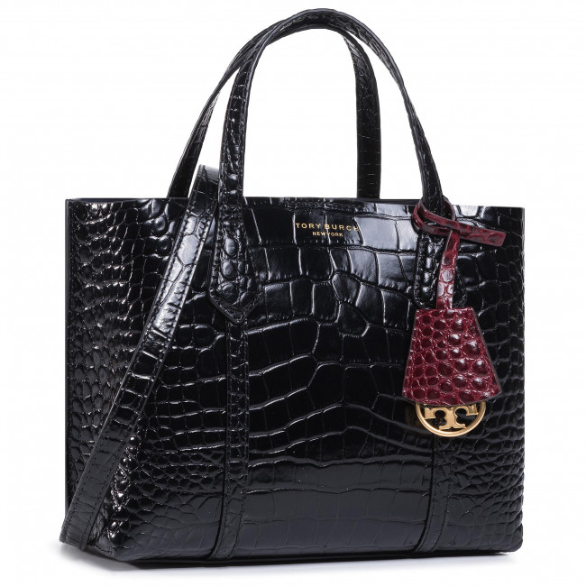 Torebka TORY BURCH - Perry Embossed Small Triple-Compartment Tote 74594 Black 001
