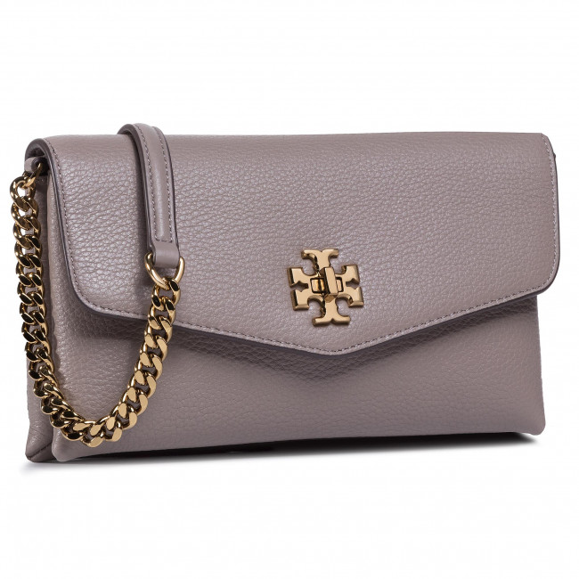 Torebka TORY BURCH - Kira Pebbled Chain Wallet 74881 Gray Haron 082