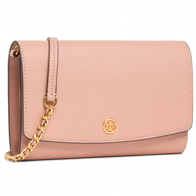 Torebka TORY BURCH - Robinson Chain Wallet 54277 Pink Moon/Rolled Brass 958