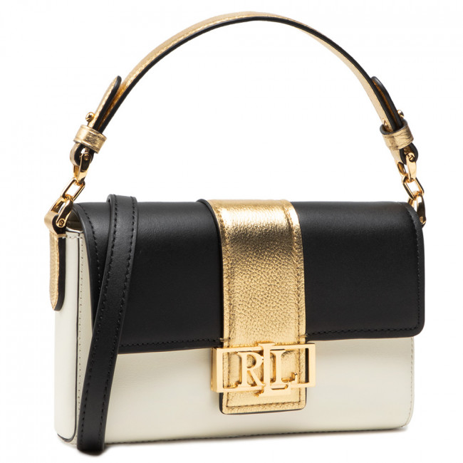 Torebka LAUREN RALPH LAUREN - Spencer 21 Shoulder Small 431826059002  Black/Gold Vanilla