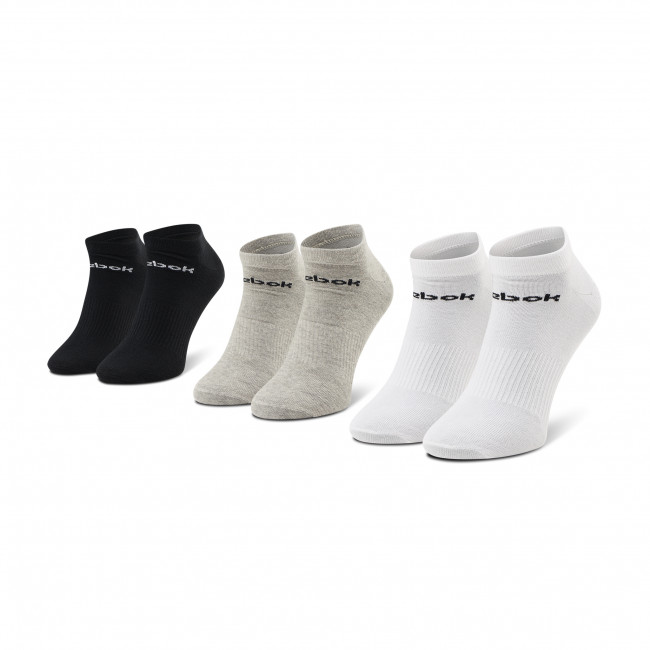 Zestaw 3 par niskich skarpet unisex Reebok - Act Core Low Cut Sock 3P GH8229  Mgreyh/White/Black