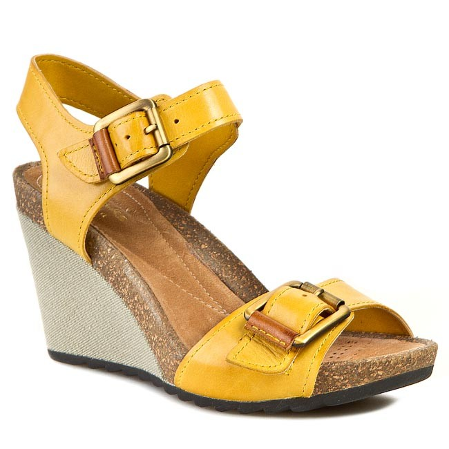 Sandały CLARKS - Overly Sparkle 261059054 Honey Leather