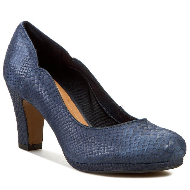 Półbuty CLARKS - Chorus Nights 261059264 Navy Leather