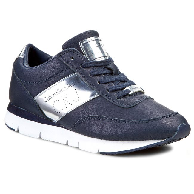 Sneakersy CALVIN KLEIN JEANS - Tosca Brush Off Kid/Rubber RE9087 Navy/Silve