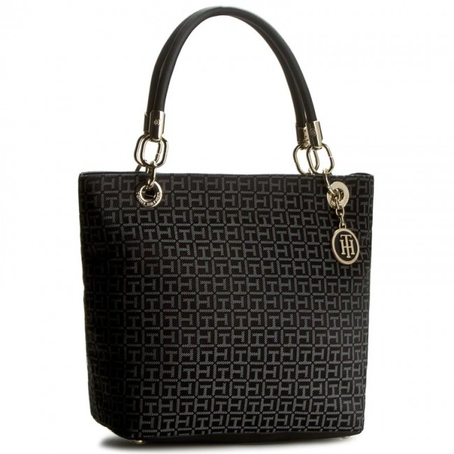 Torebka TOMMY HILFIGER - TH Essential TH Signature Tote Jacquard AW0AW03006 901