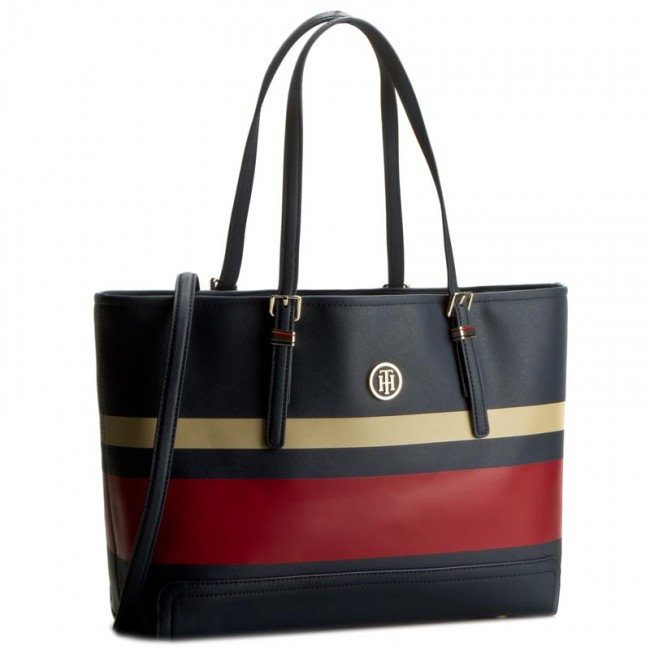 Torebka TOMMY HILFIGER - Honey Med Tote Stripe AW0AW03423 901