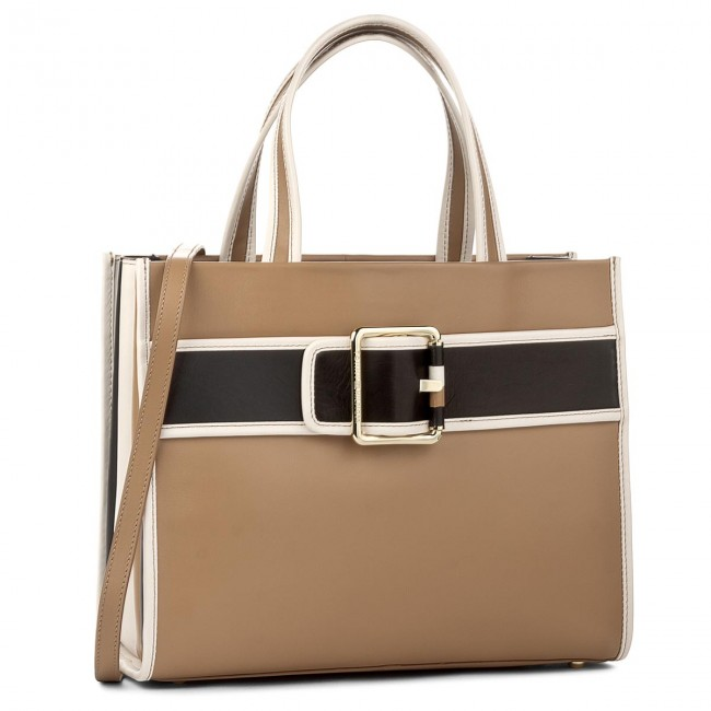 Torebka TOMMY HILFIGER - Tommy Buckle Leather Tote AW0AW04862 902