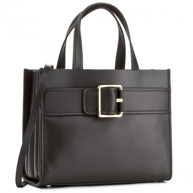 Torebka TOMMY HILFIGER - Tommy Buckle Leather Tote AW0AW04862 002