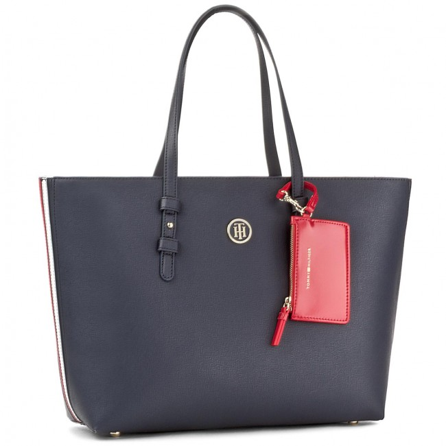 Torebka TOMMY HILFIGER - Th Signature Strap Tote Cb AW0AW05059 901