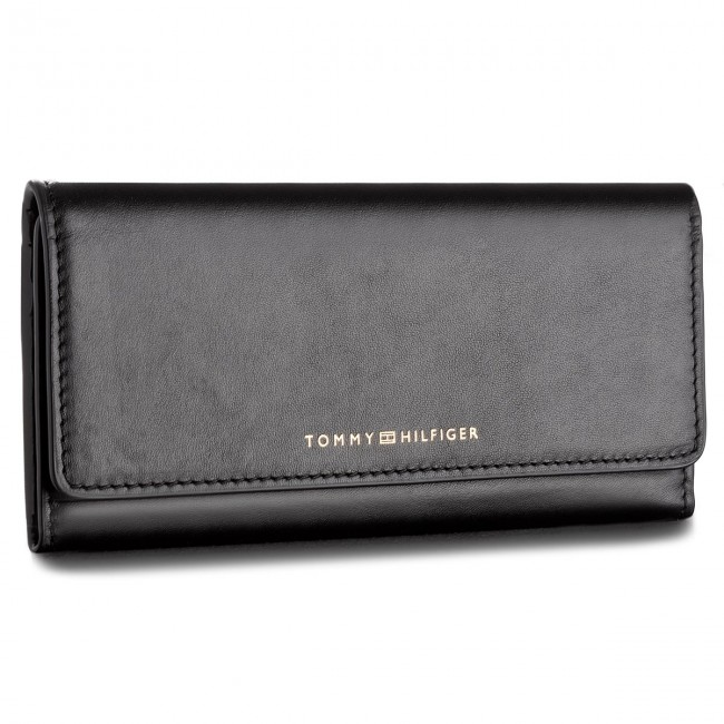 Duży Portfel Damski TOMMY HILFIGER - Smooth Leather Ew Slim Flap Wallet AW0AW05139 002