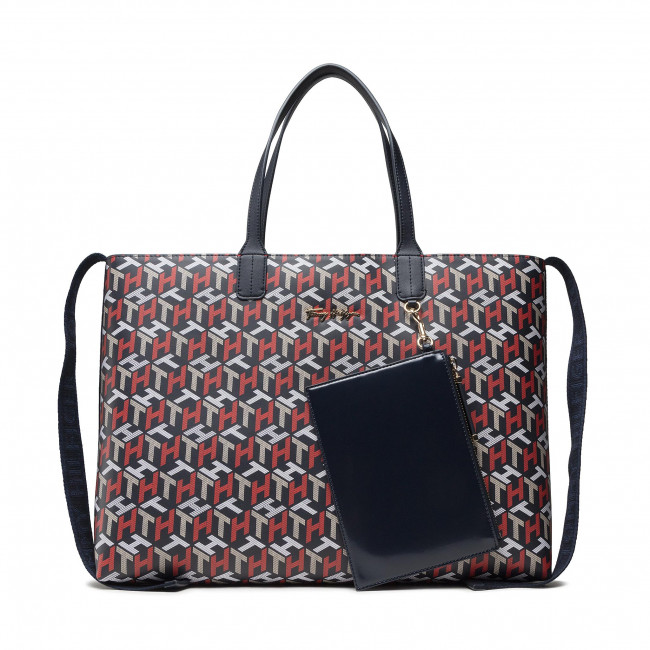 Torebka TOMMY HILFIGER - Iconic Tommy Tote Corp Mono AW0AW10273 0GY