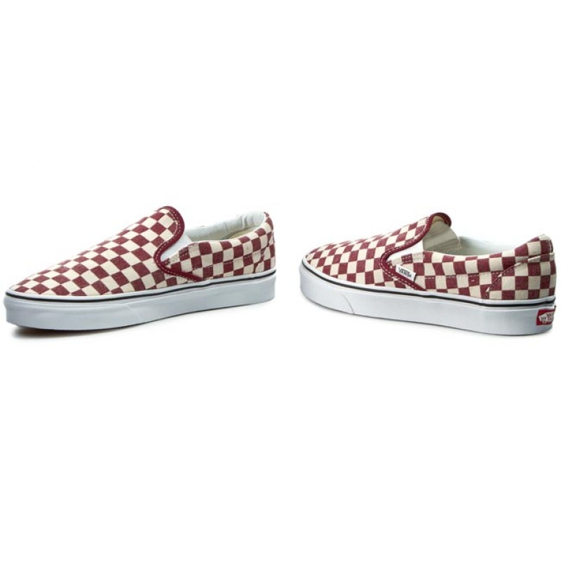 vans classic slip on rhubarb & white checkerboard
