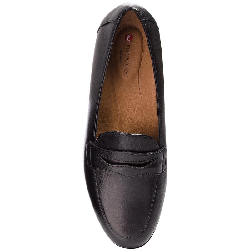 Półbuty CLARKS - Un Blush Go 261371704 Black Leather - Płaskie - Półbuty - Damskie