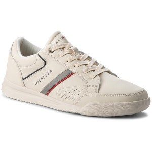 13a15c82ac7e0 Sneakersy TOMMY HILFIGER - Corporate Detail Leather Sneaker FM0FM01620 Off  White 156
