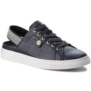 8096ae4d0a13ff Sandały TOMMY HILFIGER - Open Back Leather Sneaker FW0FW02662 Midnight 403