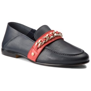 a79ddc7fa8685 Półbuty TOMMY HILFIGER Chain Detail Corporate Loafer FW0FW03396 Tommy Navy  406