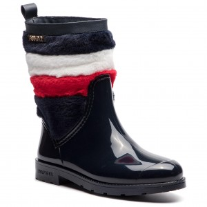 f64476c5e8a23 Kalosze TOMMY HILFIGER - Corporate Faux Fur Rain Boot FW0FW03616 Midnight  403
