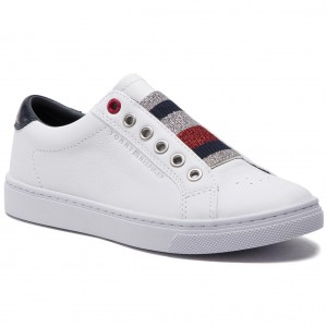 4787c74e94749 Sneakersy TOMMY HILFIGER - Tommy Elastic Essential Sneaker FW0FW03707 White  100