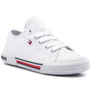 32ad1442e98c3 Trampki TOMMY HILFIGER Low Cut Lace-Up Sneaker T3X4-30278-0034 M White 100