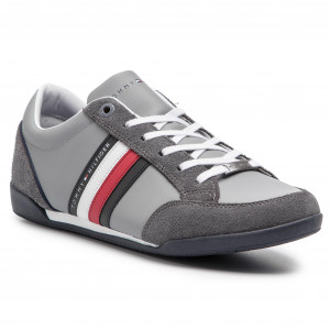 f1755bf1878c7 Sneakersy TOMMY HILFIGER - Corporate Material Mix Cupsole FM0FM02046 Steel  Grey 039