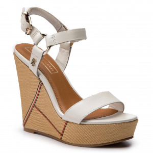 6372a9904a863 Sandały TOMMY HILFIGER - Elevated Leather Wedge Sandal FW0FW03943 Whisper  White 121