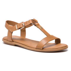 b1f19adfb6e6d Sandały TOMMY HILFIGER Elevated Leather Flat Sandal FW0FW03946 Summer Cognac  929