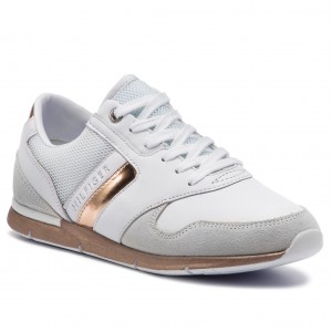 df4e45b22eb59 Sneakersy TOMMY HILFIGER - Iridescent Light Sneaker FW0FW04100  White/Rosegold 901