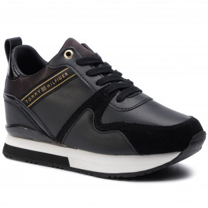 21f26a1f8 Sneakersy TOMMY HILFIGER - Iridescent Wedge Sneaker FW0FW04130 Black 990