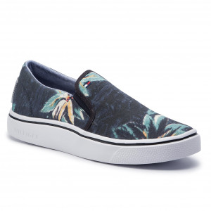 93386f51 Tenisówki TOMMY HILFIGER - Seasonal Print Slip On Sneaker FM0FM02460  Midnight 403